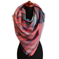 Blanket square scarf - pink