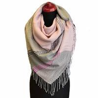 Blanket square scarf - pink and grey