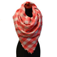 Blanket square scarf - coral and white