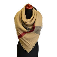 Blanket square scarf - light brown