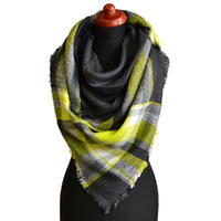 Blanket square scarf - dark grey and yellow