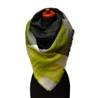 Blanket square scarf - black and yellow