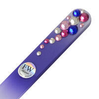 Glass nail file with Swarovski crystals - violet