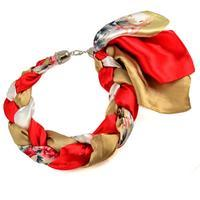 Jewelry scarf Florina - red and brown