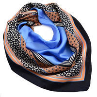 Square scarf - blue and coral