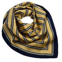 Square scarf - golden brown and blue