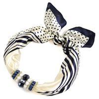 Jewelry scarf Stewardess - white and blue
