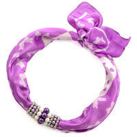 Jewelry scarf Stewardess - violet and white