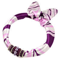 Jewelry scarf Stewardess - white and violet