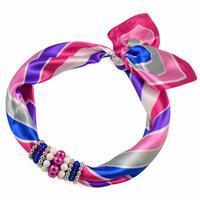 Jewelry scarf Stewardess - pink and blue
