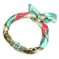 Jewelry scarf Stewardess - menthol and white