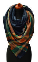 Blanket square scarf - green and orange