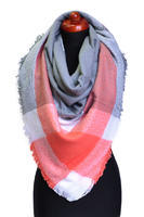 Blanket square scarf - coral and grey