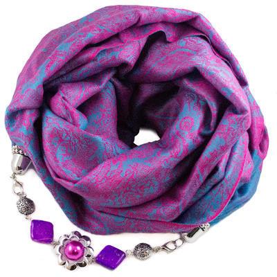 Warm jewelry scarf - fuchsia and blue