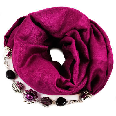 Jewelry scarf with necklace - crimson