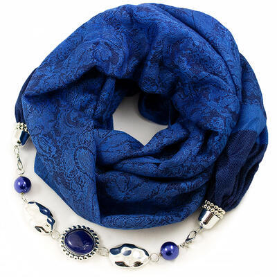Warm scarf with necklace - blue