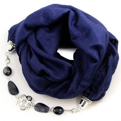 Warm scarf with necklace - dark blue