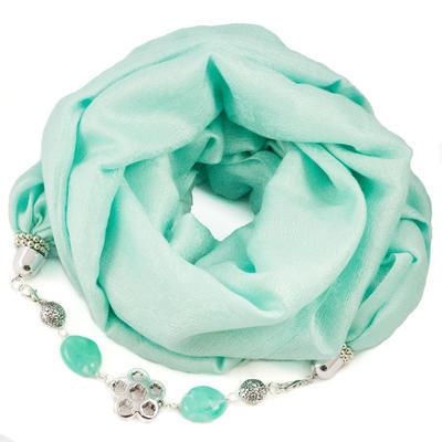 Warm jewelry scarf - menthol green