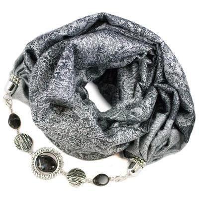 Warm scarf with necklace - grey