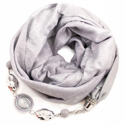 Warm scarf with necklace - light  grey