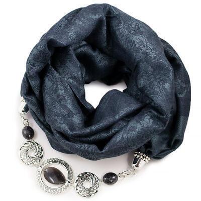 Warm scarf with necklace - dark grey