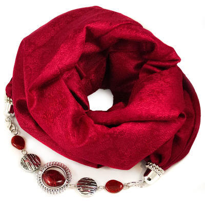 Warm scarf with necklace -black and red