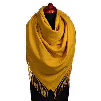 Blanket square scarf - mustard yellow - 1