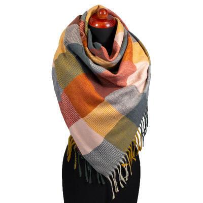 Blanket square scarf - orange and grey - 1