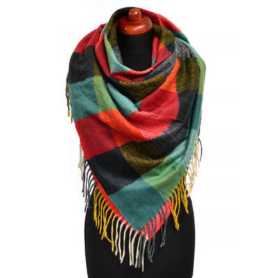 Blanket square scarf - red and green - 1
