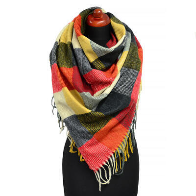 Blanket square scarf - red and black - 1
