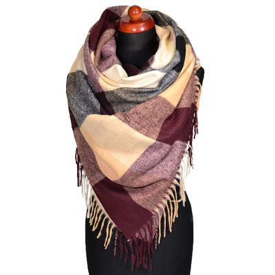 Blanket square scarf - dark red and beige - 1