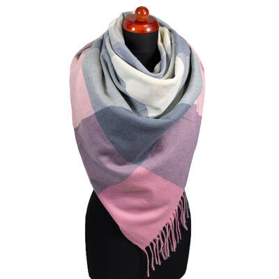 Blanket square scarf - pink and grey - 1