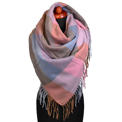 Blanket square scarf - pink and brown - 1