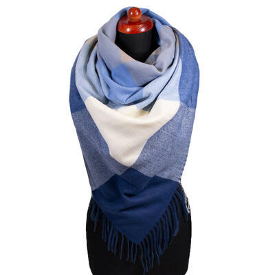 Blanket square scarf - blue and white - 1