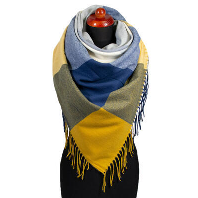 Blanket square scarf - blue and mustard yellow - 1