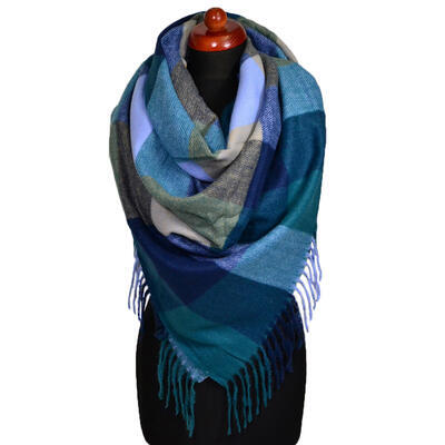 Blanket square scarf - blue and green - 1