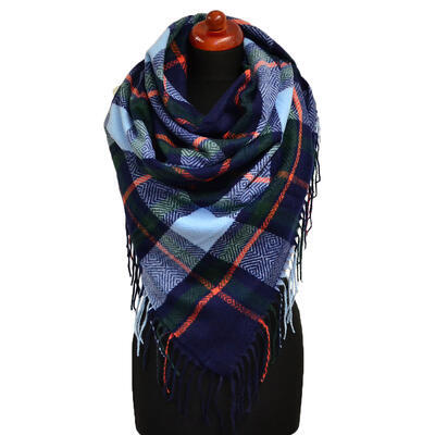Blanket square scarf - blue - 1