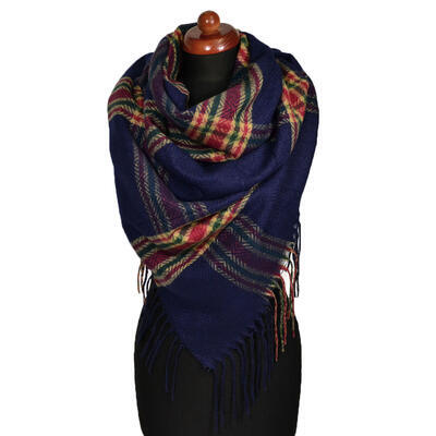 Blanket square scarf - dark blue and brown - 1
