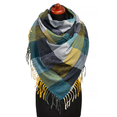 Blanket square scarf - green and grey - 1