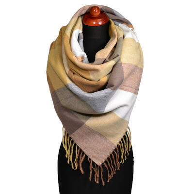 Blanket square scarf - brown and beige - 1
