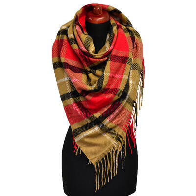 Blanket square scarf - brown and red - 1
