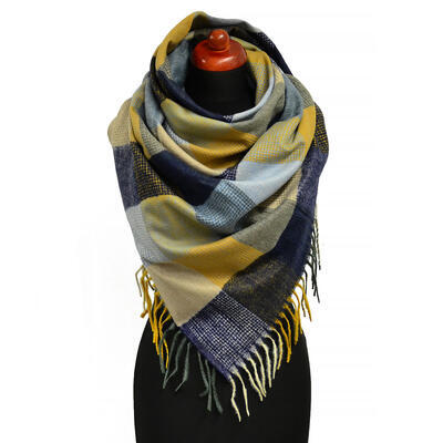 Blanket square scarf - blue and brown - 1