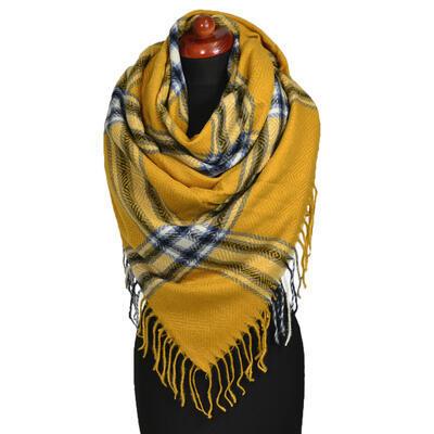 Blanket square scarf - mustard yellow - 1