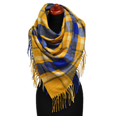 Blanket square scarf - mustard yellow and blue - 1