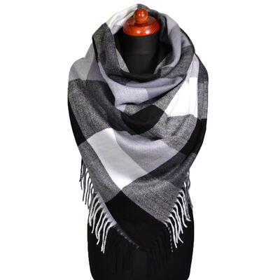 Blanket square scarf - black and white - 1