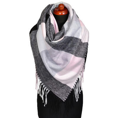 Blanket square scarf - black and pink - 1