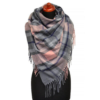 Blanket square scarf - grey and pink - 1