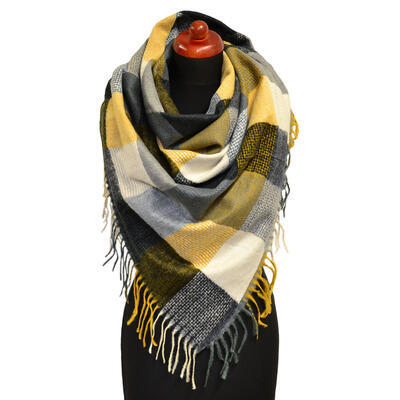 Blanket square scarf - grey and mustard yellow - 1