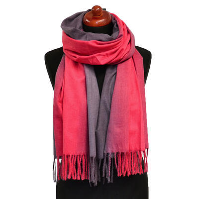 Blanket scarf - red and brown - 1