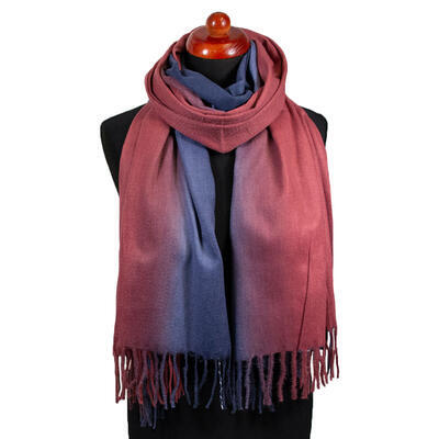 Blanket scarf - blue and red - 1